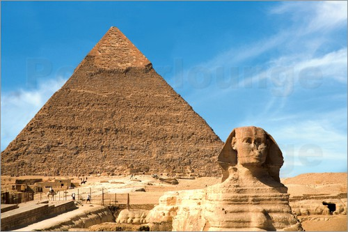 Poster The Sphinx in front of the Great Pyramid of Khufu
