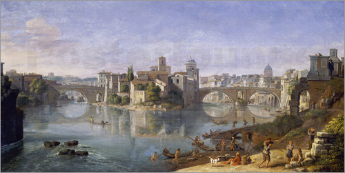 Poster The Tiber Island in Rome. 1685