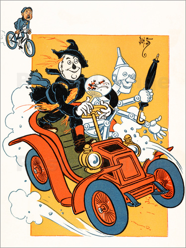 Poster The scarecrow and tin-man driving very fast in car