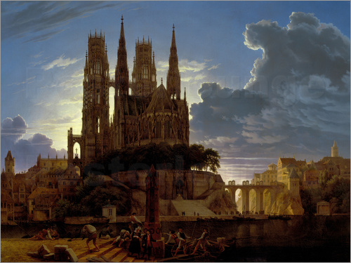 Karl Friedrich Schinkel - Cathedral over a city. After 1813. (Copy of K.E.Biermann 1830).