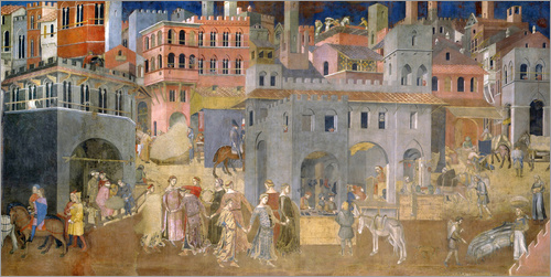 Ambrogio Lorenzetti - Effects of Good Government in the city
