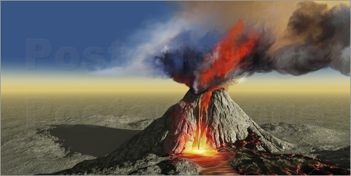 Poster An active volcano erupts