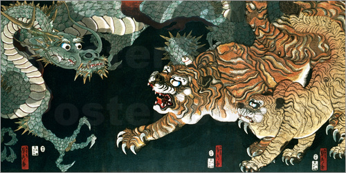 Poster A dragon and two tigers