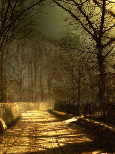 John Atkinson Grimshaw - A Moonlit Lane, with two lovers by a gate