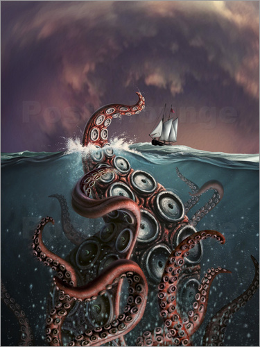 Poster A fantastical depiction of the legendary Kraken.