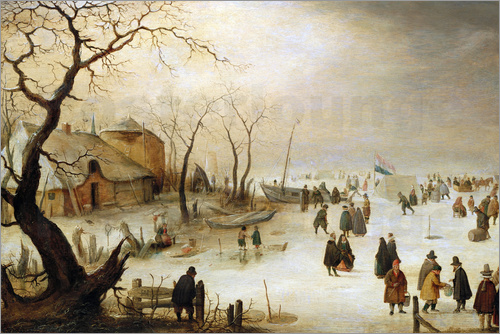 Hendrick Avercamp - A Winter River Landscape with Figures on the Ice