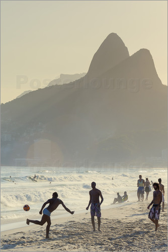 Poster Locals playing football on Ipanema