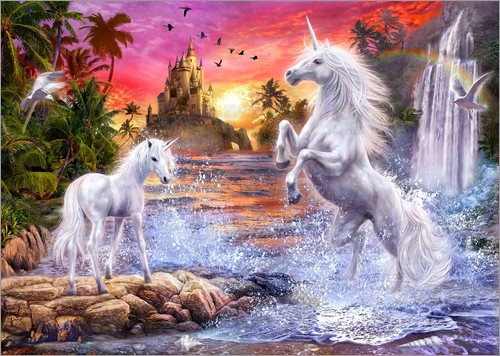 Poster Unicorn Waterfall Sunset