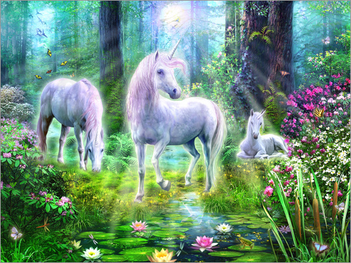 Poster Forest unicorn family