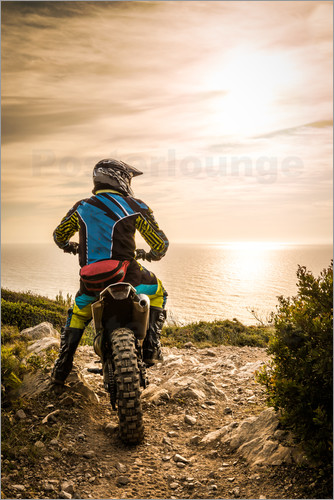 Enduro racer on the coast