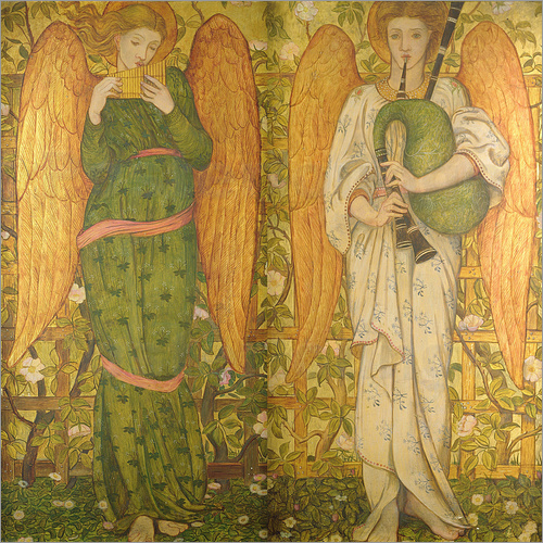 John Roddam Spencer Stanhope - Angels with Pan Pipes and Bagpipes