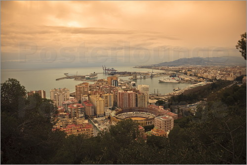 Ian Egner - High angle view of Malaga cityscape with bullring and docks