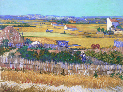 Vincent van Gogh - Harvest Landscape with Blue Cart