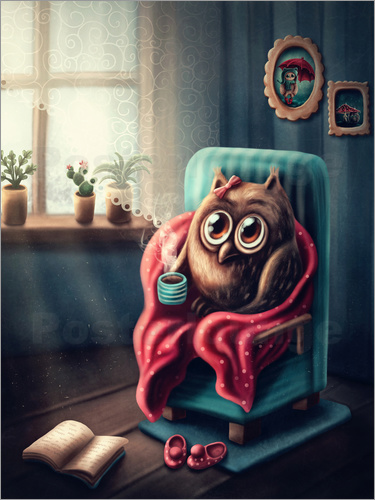 Elena Schweitzer - Owl with a cup of coffee