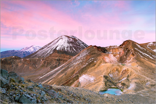 Poster Awesome sunrise on Mount Ngauruhoe and red crater, Tongariro crossing, New Zealand