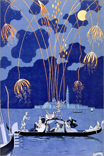 Georges Barbier - Fireworks in Venice, Fetes Galantes