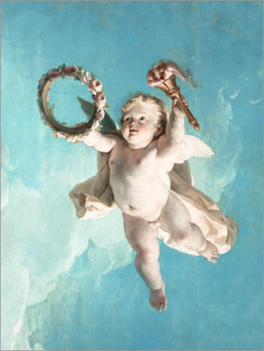 François Boucher - Flying Putte with wreath and torch