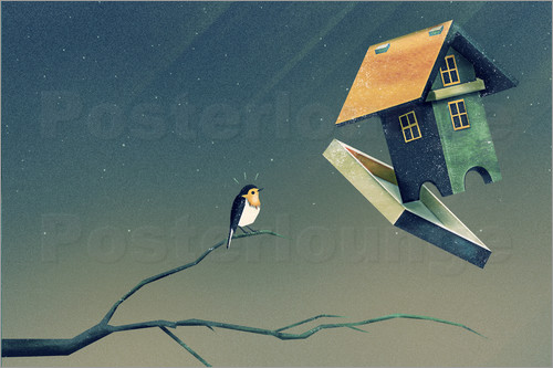 Poster Flying Bird   House