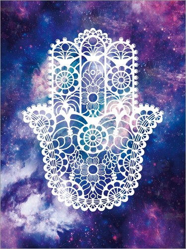 Poster Floral Hamsa Hand Space floral art print
