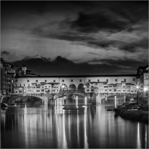 Poster FLORENCE Ponte Vecchio at Sunset