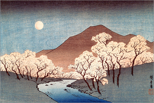 Poster River landscape with rising moon