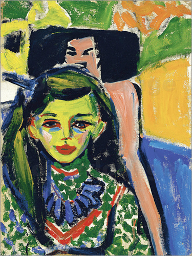 Ernst Ludwig Kirchner - Fränzi in front of carved chair