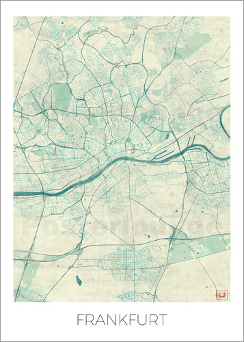 Hubert Roguski - Frankfurt, Germany Map Blue