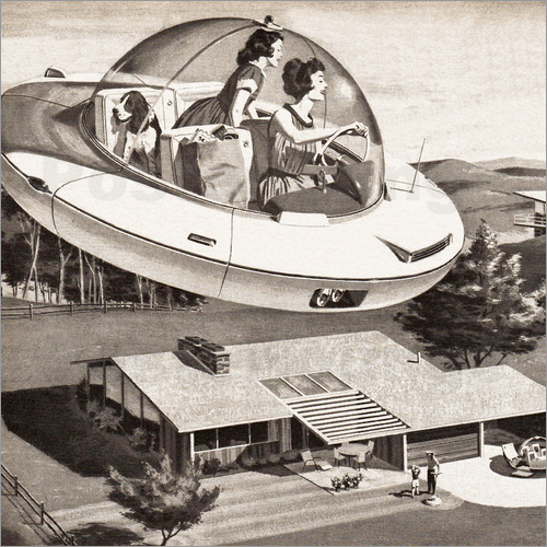 Woman Driving Flying Saucer