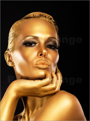 Woman with Gold Make-up