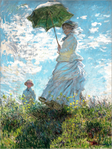 Poster Woman with a Parasol - Madame Monet and Her Son