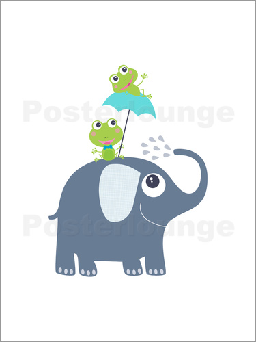 Poster Frogs and elephant