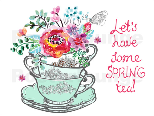 Typobox Let's have some spring tea Poster | Posterlounge