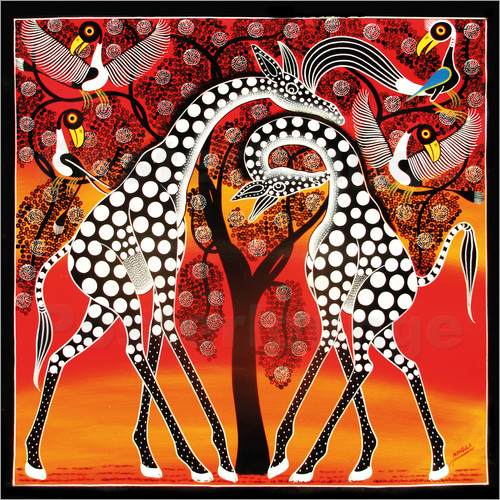 Poster Giraffes cuddle under a tree
