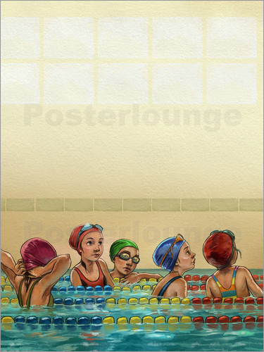 Póster Girls in swimming pool looking up
