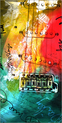 Poster guitar music colorful collage rock n roll