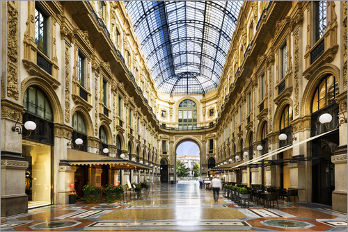 Poster Glass dome of Galleria Vittorio Emanuele in Milan, Italy