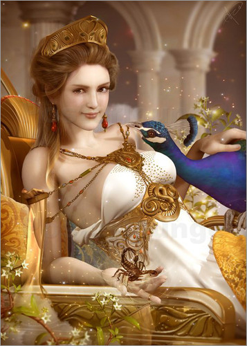 Poster Goddess Hera with a peacock
