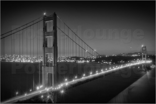Poster Evening Cityscape of Golden Gate Bridge