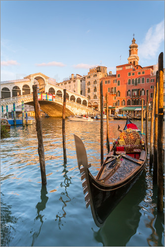 Poster Gondola at Rialto bridge