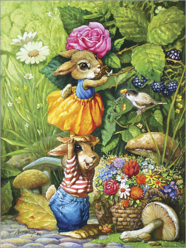 Petar Meseldzija - Rabbits picking flowers