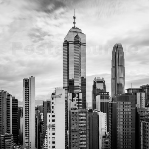 Poster Houses Sea Hong Kong in black and white