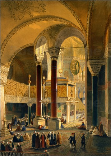 Poster Haghia Sophia, plate 8: the Imperial Gallery and box, engraved by Louis Haghe published 1852