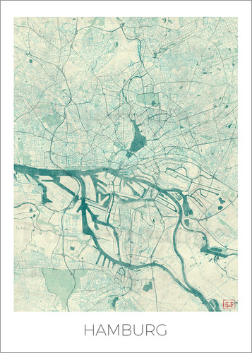 Poster Hamburg, Germany Map Blue