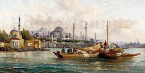 Poster Merchant vessels in front of Hagia Sophia, Istanbul