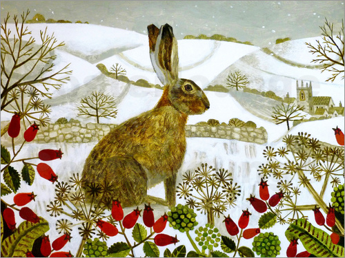 Poster Seated Hare in Snow