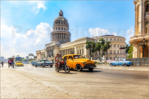 Poster Havana Capitol with Oldtimer
