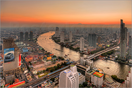 Poster HDR   BANGKOK SUNSET WITH CHAO PHRAYA RIVER   THAILAND 08