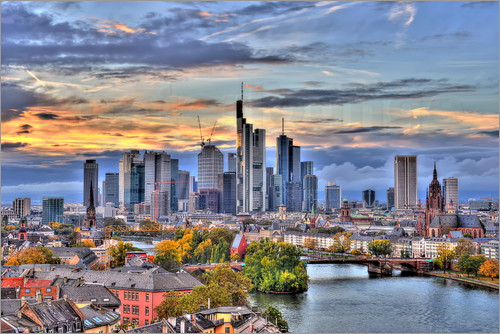 Poster HDR   FRANKFURT MAIN SKYLINE DURING TWILIGHT   GERMANY 2
