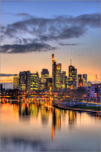 HADYPHOTO by Hady Khandani - HDR   FRANKFURT SKYLINE MIRRORING IN MAIN RIVER DURING TWILIGHT   GERMANY 1