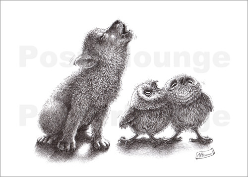 Poster howling wolf meets howling owls